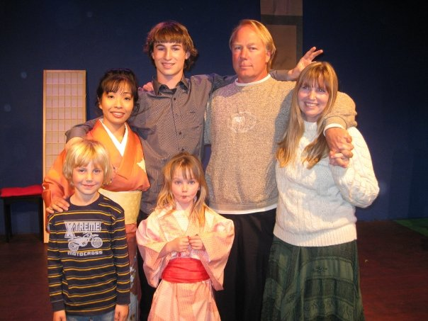 """Ten year anniversary - of the theatre.   My """"original"""" son Russell, Mercedes' son Birch, Gay, and Mercedes' grand daughter was my daughter """"TROUBLE"""" Her family stayed with me for the very difficult time to keep the theatre going."""