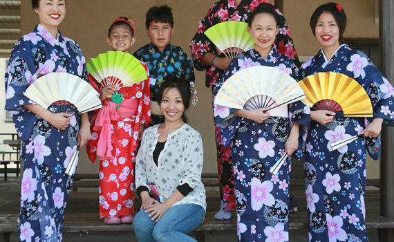 Japanese dance kimono demonstration. School program